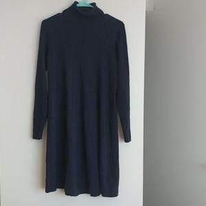 Navy Turtleneck Sweater Dress - S